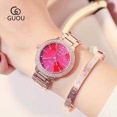 Đồng hồ nữ dây thép viền đính đá cao cấp GUOU TP-G8330 (kim rốn)