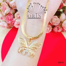Dây chuyền nữ dạng mì dẹp mặt bướm hai tầng cánh đính đá cao cấp Orin D4010