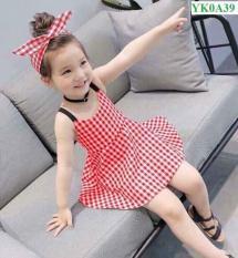 Váy thiết kể kẻ caro kèm băng đô cho bé gái