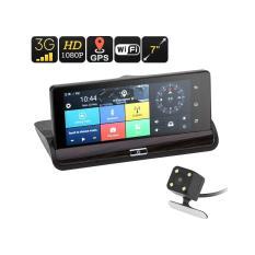 Camera hành trình cao cấp đặt taplo xe màn hình 7″ , có GPS,camera lùi android 5.1, xem phim nghe nhạc