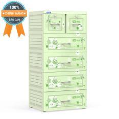 Tủ nhựa Duy Tân TABI 5 tầng xanh lá (Họa tiết ngẫu nhiên)