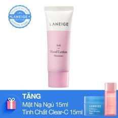 Kem dưỡng da tay ngăn ngừa lão hoá Laneige Soft Hand Lotion 40Ml tặng kèm Mặt nạ ngủ 15ml và tinh chất vitamin chống oxi hóa Clear C 15ml