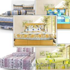 Bộ 1 chăn mền, 1 drap nệm, 1 vỏ gối ôm, 2 vỏ gối nằm cotton mềm mại cho phòng ngủ đẹp mắt (giao màu ngẫu nhiên)