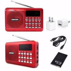 Máy nghe nhạc Thẻ nhớ, USB, FM – Craven CR-16 (Đỏ) + Tặng cốc sạc 89.000