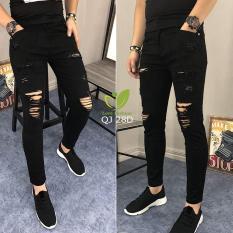 Quần jean nam cao cấp đen rách thời trang MS960