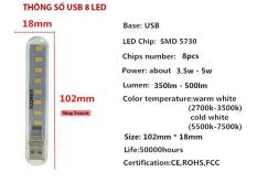 Bộ 2 Đèn USB 8 Led