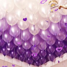 Bộ 100 vỏ bóng màu tím nhũ và bạc, bóng bay trang trí phòng cưới