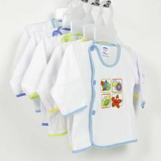 Bộ 10 Áo bác sĩ Bosini dài tay, màu trắng cho bé từ 0-12 tháng