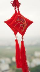 Túi treo phong thủy Như Ý Cát Tường màu đỏ may mắn