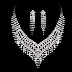 Bộ trang sức vòng cổ và bông tai đính đá dạng yếm trang điểm cô dâu RS02