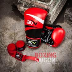 Găng tay Boxing BN ( Đỏ ) tặng túi đựng găng