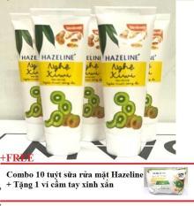 Combo 10 tuýp sửa rửa mặt sáng da hazeline kiwi nghệ 15g+ Tặng 1 Túi đựng mỹ phẩm xinh xắn