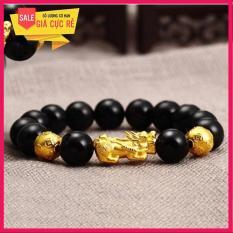 Vòng tay đá Mã não charm tì hưu bạc Thái mạ vàng cao cấp giá rẻ