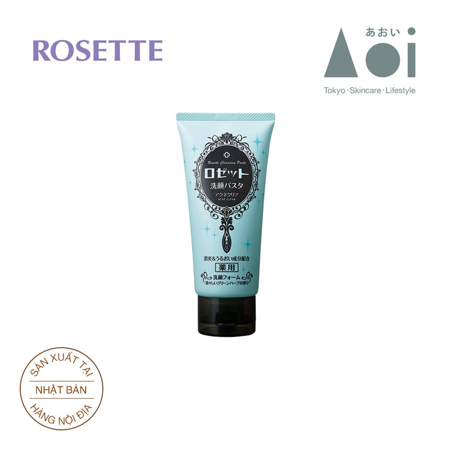 Sữa Rửa Mặt Trị Mụn Rosette Face Wash Pasta Acne Clear 120g