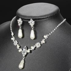 Bộ trang sức nữ đá ngọc trai và pha lê giọt nước đơn giản mà đẹp dịu dàng