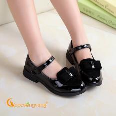 Giày bé gái đẹp giày công chúa bé gái màu đen đính nơ GLG042