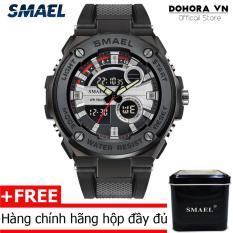 (Cập nhật 2019)Đồng hồ nam quân đội Smael DR3 dual time viền kim loại siêu bền dây cao su