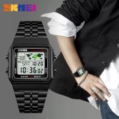 Đồng hồ nam digital giờ thế giới dây thép không gỉ Skmei 1338 lịch lãm (Nhiều màu)