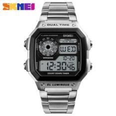Đồng hồ thể thao điện tử nam Skmei 1335 Digital Watch dây thép không gỉ (Dây trắng mặt đen)