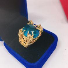 Trang sức nam cao cấp Nhẫn nam đính đá mạ vàng cao cấp, may mắn ( xanh dương)