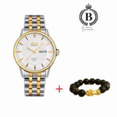 Đồng hồ Nam cao cấp BOSCK 8321 [Billux] dây kim loại – 40mm (Vàng – Trắng – Đen) (Tặng vòng tỳ hưu mạ vàng) [BOKMT001]