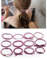 Set 12 dây buộc tóc đơn giản Hàn Quốc kèm hộp