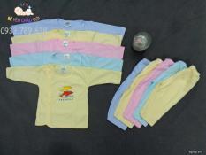 Set 5 bộ quần áo màu dài tay, cúc lệch cho bé từ 0-9 tháng