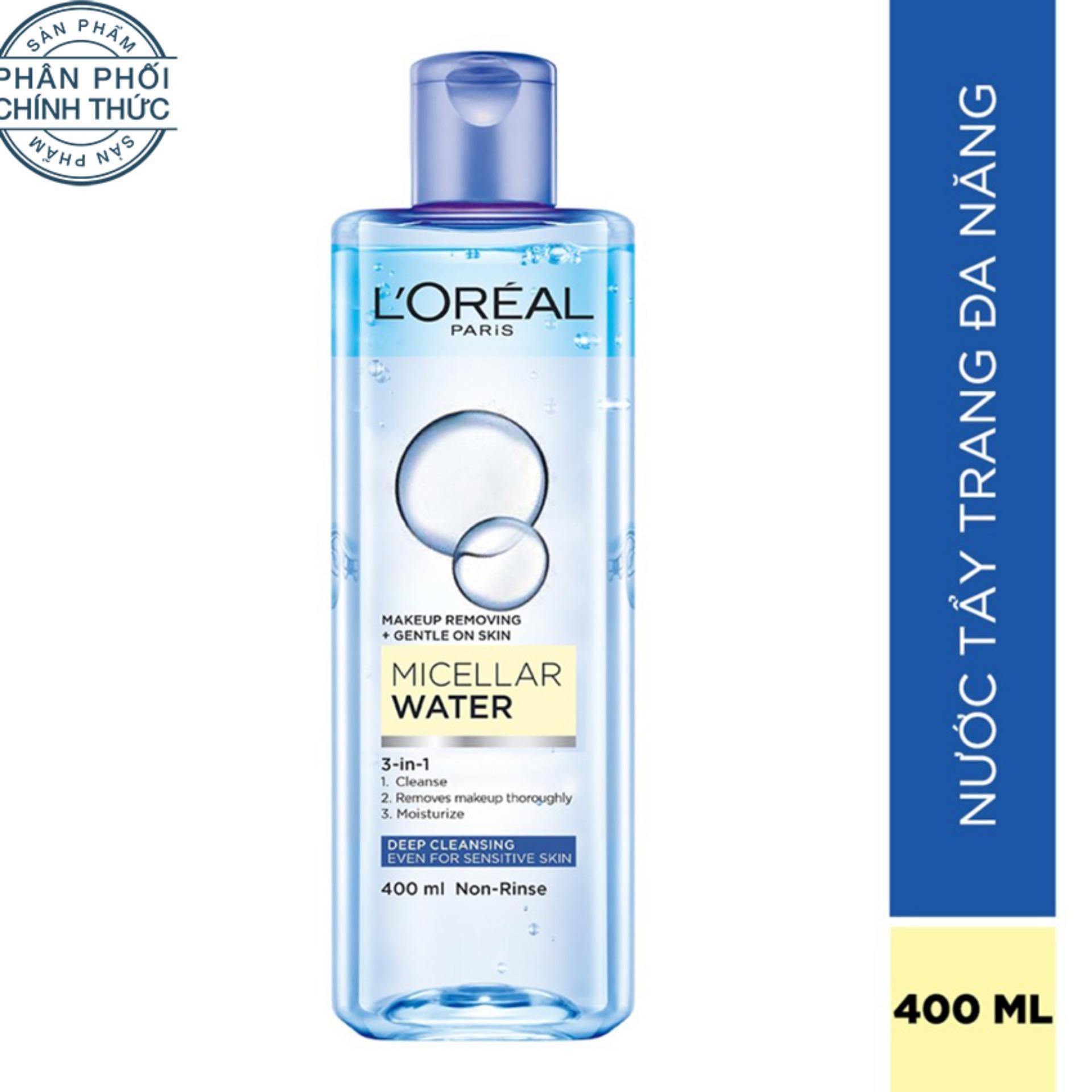 Nước tẩy trang đa năng 3-in-1 L'Oreal Paris Micellar làm sạch sâu 400ml