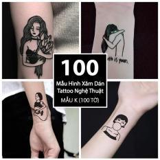 Bộ 100 Mẫu Hình Xăm Dán, Hình Xăm Tattoo Cao Cấp Combo 100 Tờ – Mẫu K