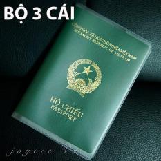 Bộ 3 cái vỏ bao hộ chiếu (passport) dẻo trong có khe đựng vé máy bay và các loại thẻ Joycee Vo JV132x3