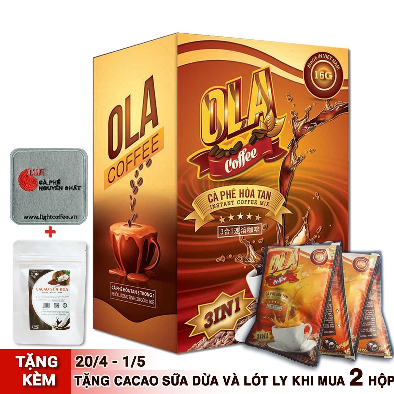 Cà phê sữa hòa tan 3in1 – OLA Coffee – hộp 18 gói (16g/gói)