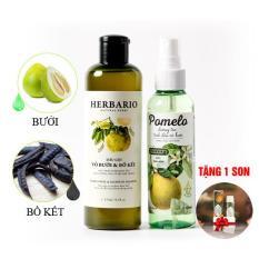 Bộ trị rụng tóc dầu gội vỏ bưởi bồ kết Herbario và tinh dầu bưởi Pomelo tặng 1 son dưỡng môi