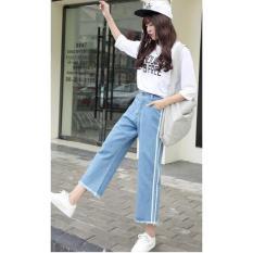 Quần Jeans Nữ Ống Rộng Phối Sọc Cao Cấp OHS3042