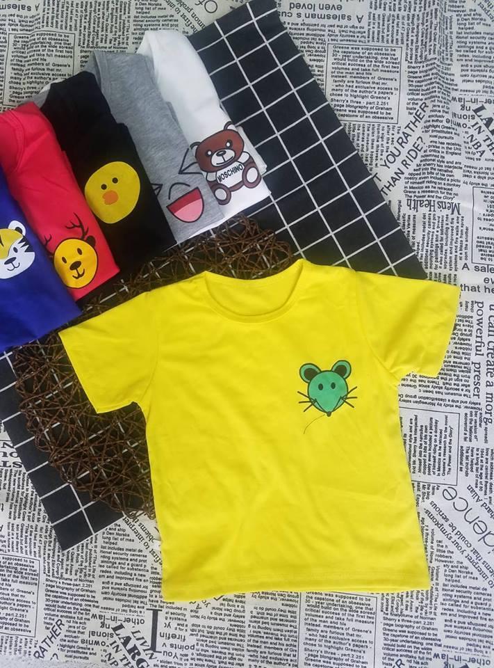 Áo thun cotton in hình thú cho bé gái