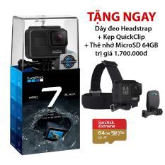 Máy quay phim GoPro HERO 7 Black – Tặng combo Dây đeo Headstrap + Kẹp QuickClip + Thẻ nhớ MicroSD Extreme 64gb