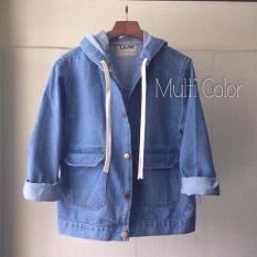 Áo khoác jean Nữ có nón,dây bản to (xanh đậm,xanh nhạt)