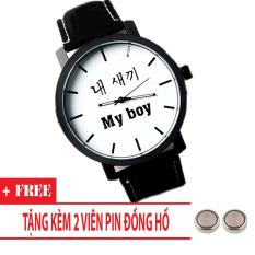 Đồng hồ nam giá rẻ My Boy My Girl (Dây Đen, Mặt Hình Tròn) + Tặng Kèm Pin