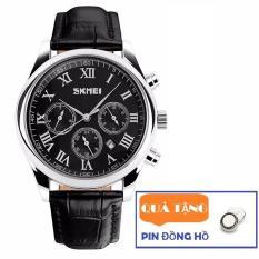 Đồng hồ nam dây da Skmei 9078 6 kim lịch lãm (Tặng pin đồng hồ)