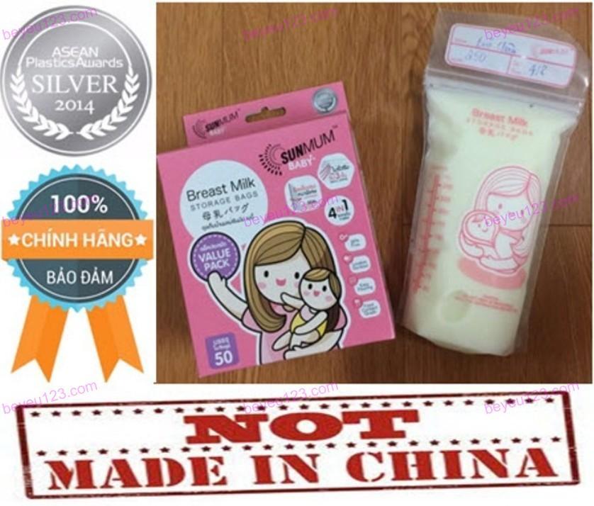 (Mẫu mới 2018) Bộ 50 túi trữ sữa mẹ không có BPA 250ml SUNMUM (Made in Thailand) (CHẤT LƯỢNG & GIÁ RẺ SO VỚI CÁC THƯƠNG HIỆU: MEDELA, LANSINOH, SPECTRA, UNIMOM, NATUR, PUR, GB, KICHILACHI,…) (Hot)
