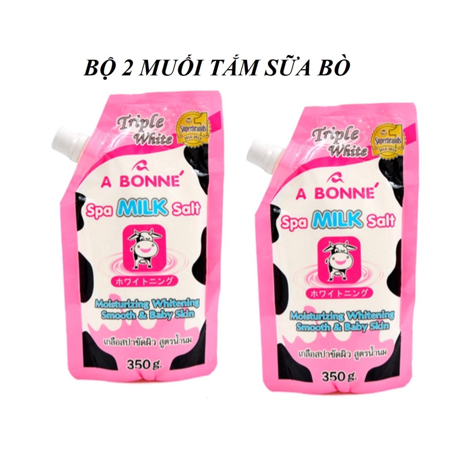 Bộ 2 Muối Tắm Tẩy Tế Bào Chết Sữa Bò A Bonné Spa Milk Salt 350g