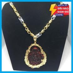 Dây chuyền nam bạc Thái mạ vàng cao cấp mặt Di lạc đỏ