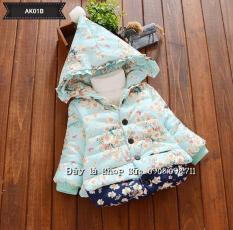 Áo khoác phao xanh họa tiết hoa cho bé gái