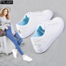 Giày Sneaker Nữ Thêu Mèo (trắng hồng, trắng xanh, trắng đen)