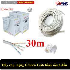 Dây cáp mạng Golden Link UTP Cat5E 2 đầu chống nhiễu 30m (Trắng)