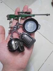 Móc KHóa Combo PUBG 4 sản phẩm mũ +chảo+balo+giáp