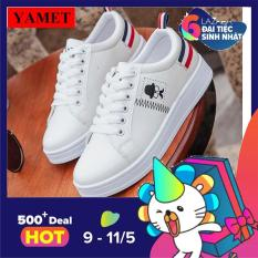 Giày Sneaker Thời Trang Nữ – YAMET shop SN005TD Trắng Phối Đỏ