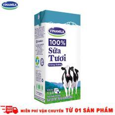 Thùng 12 Hộp Sữa tươi tiệt trùng Vinamilk 100% Không đường 1L (Hộp giấy)