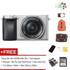 Máy ảnh Sony A6300 kèm Kit 16-50mm (Màu bạc) – Tặng thẻ nhớ 64GB siêu tốc + Túi đựng máy + Combo 2 pin 1 sạc kép RAVPower + Bao Silicon (Nâu) + Gói cài app + Remote + Dán màn hình