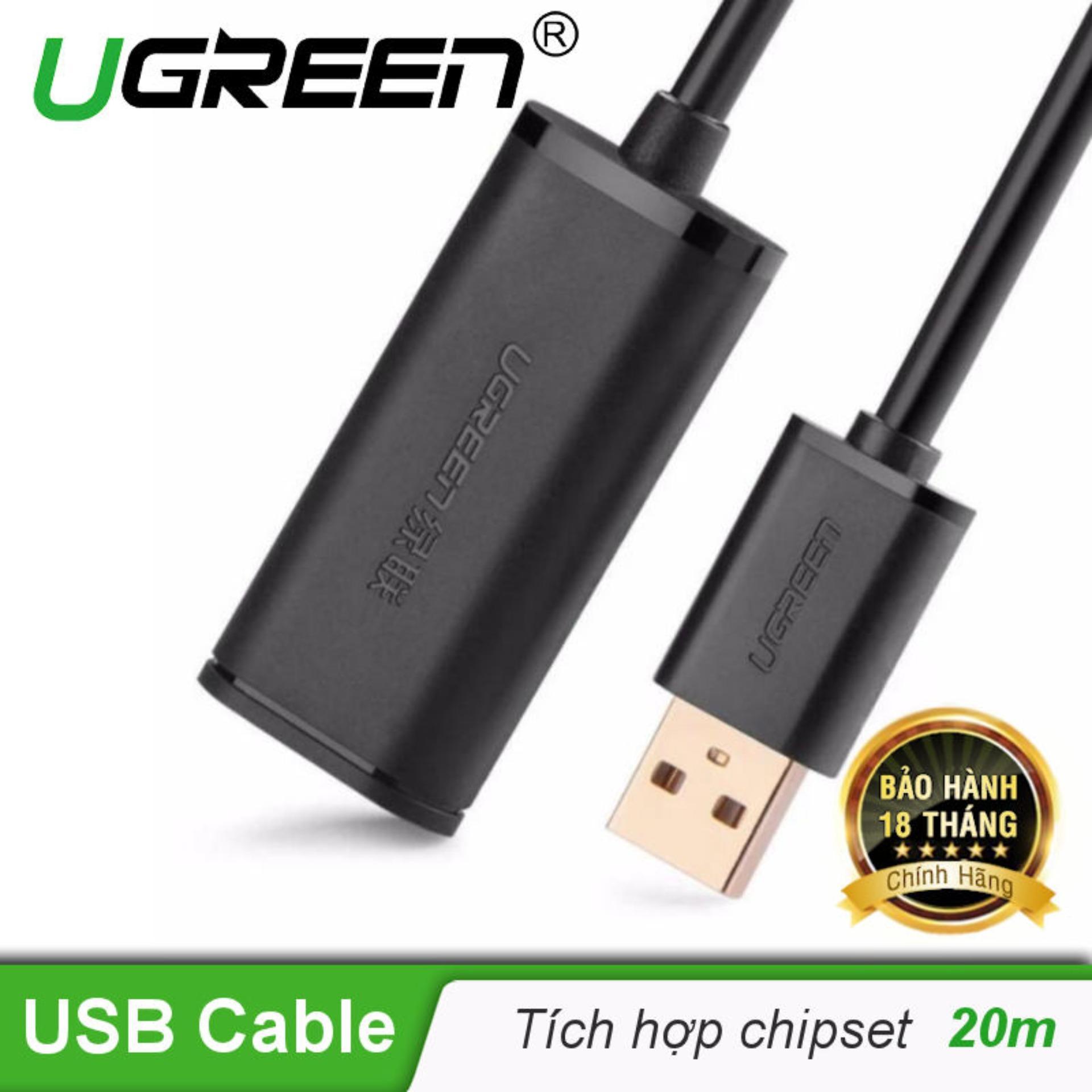 Dây USB 2.0 nối dài dài 20M Active có CHIP UGREEN US121 10324 - Hãng phân phối chính thức