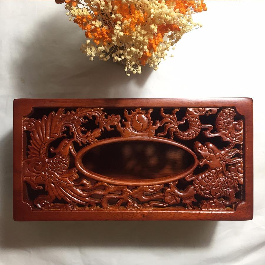 Hộp đựng giấy ăn gỗ hương trạm khắc Long Phụng đẹp mắt